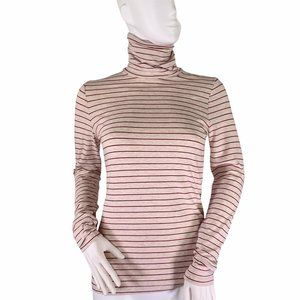 Lands End Shaped Red Cream Striped Turtle Neck XS